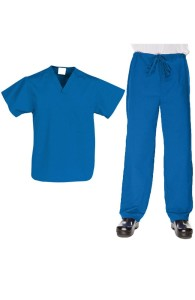 VietNam Halimex medical uniforms company receive cartoon scrubs a hospital uniform blue for a nurse doctor, a large, patient number of workers